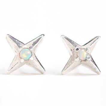 North Star Stud Earrings Sterling Silver with Opal Stone Bohemian Jewelry - CST006SS OP17