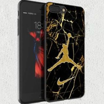 Nike.0x0 Air Jordan Gold Marble Fit Hard Case For iPhone 6 6s 7 8 Plus X Cover +