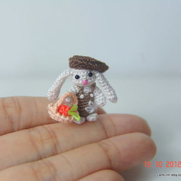 Dollhouse decor 1 inch tiny crochet bunny - miniature amigurumi animal