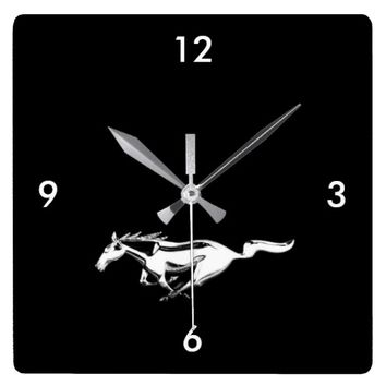 Ford Mustang on Black Background Square Wall Clock