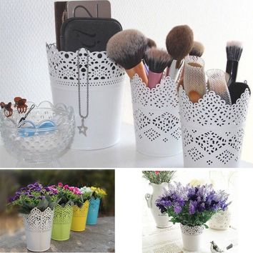 Plastic Lace Plant Flower Vase Pot Pen Makeup Brush Storage Holder Desk Organizer