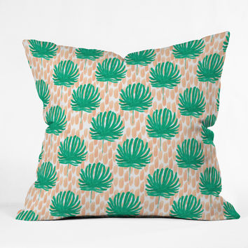 Bouffants and Broken Hearts Tropical Leaves Outdoor Throw Pillow