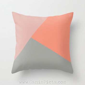Geometric Modern Throw Pillow 16x16 Decorative Cover Bright Coral Pink Mod Purple Lavender Shape Salmon Melon Red Cherry Ash Gift Room Light