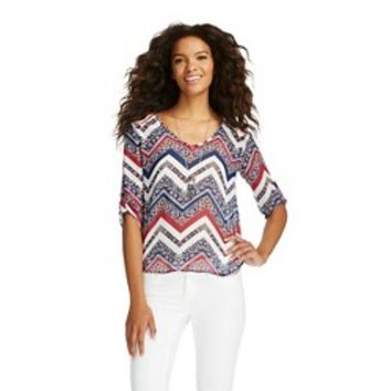Rolled Sleeve Chevron Blouse - 3Hearts: Target