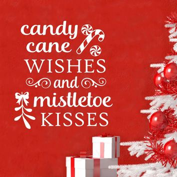 Candy Cane Mistletoe Quote | Christmas Decal | Vinyl Wall Lettering