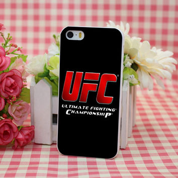 Ufc LOGO Estilo White Hard Case Cover for Apple iPhone 6 6s plus 5 5s 4 4s 5c