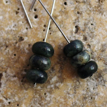 Chinese Jade Stone Earrings, Minimalist Style, Dark Green Stone Beads, Stainless Steel Ear Wires, Dangle Earrings Handmade by Hendywood