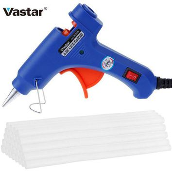 DCCKFS2 Vastar Hot Melt Glue Gun with 30pc 7mm*200mm Glue Stick Industrial Mini Guns Thermo Electric Heat Temperature Tool