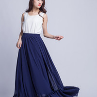 High Waist Bridesmaid Skirt Chiffon Maxi Skirts Beautiful Elastic Waist Summer Skirt Floor Length Women Skirt (301) ,1#