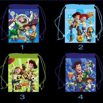 12Pcs Toy Story Cartoon Kids Drawstring Printed Backpack Shopping School Traveling Party Bags Birthday Gifts