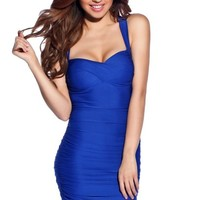 Royal Blue Sexy Seduction Ruched Sleeveless Wide Strap Club Dress