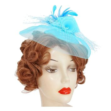 Turquoise Flower Feather Mesh Headband Clip Fascinator