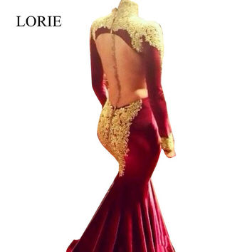 Full Sexy Burgundy Mermaid Long Sleeve Prom Dresses 2017 Dubai Kaftan High Neck Gold Appliques Velvet Backless Evening Dresses
