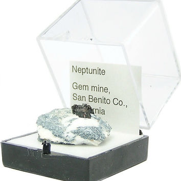 Black Neptunite Crystals in rock matrix Thumbnail Mineral Specimen mini rare gemstone mined in California, estate rockhound geo collection