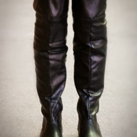 Tammy-79 Black Thigh High Fold Over Slouchy Flat Boot - Shoes 4 U Las Vegas
