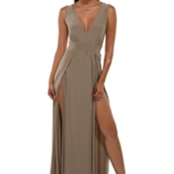 Missy Taupe High Slit Dress