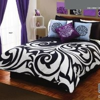 White Black Gray Comforter Duvet Sheets Bedding Set Full 12 Pcs