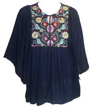 Rayon Crape Bohemian Medieval Short Wide Sleeve Embroidered Tunic Blouse