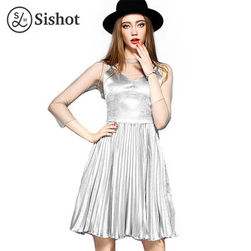 Sishot women dresses 2017 summer brief silver plain elegant o neck mid calf pleated mesh knee length patchwork office dress