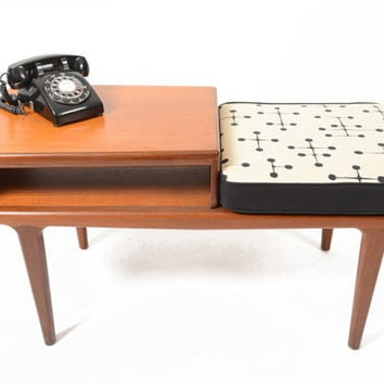 Mid Century Modern Younger Telephone Bench in Eames Dot Print