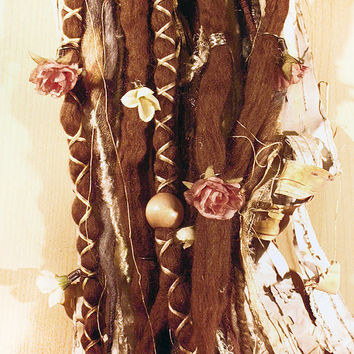 10pc Tie-Dye Wool Brown Flower Maiden Dreads with X-Cross Wrap & Beads Bohemian Hippie Dreadlocks Falls Synthetic Boho Extensions