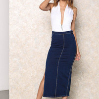 Dark Denim High Waist Slit Midi Skirt