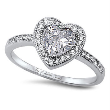 A Perfect 1.4CT Heart Cut Halo Russian Lab Diamond Engagement Promise Wedding Ring