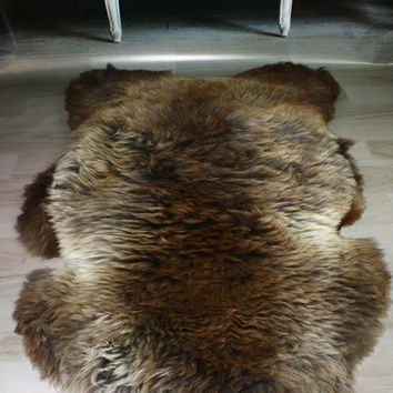 Rare real, Beautiful, Natural, unique Sheepskin Rug, Pelt, soft, thick fur - XXL  LARGE brown