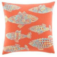 Tommy Bahama® Batic Fish Square Throw Pillow in Orange