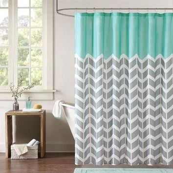 """Lewis"" Chevron Pattern 72-inch Shower Curtain in Teal, Grey & White"