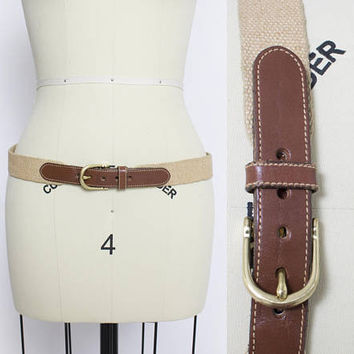 Vintage Belt Dooney & Bourke - Brown Leather + Canvas 1990s Designer -  Large 44