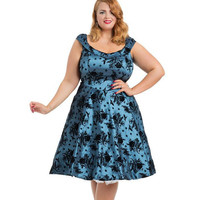Voodoo Vixen Holly Blue Flocked Plus Size Dress