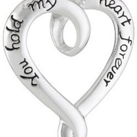 """Sterling Silver """"You Hold My Heart Forever"""" Heart Pendant Necklace, 18"""": Jewelry"""