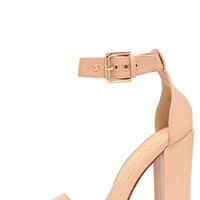 Galleria Nude Ankle Strap Heels