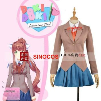 Game Doki Doki Literature Club Cosplay Costume Sayori / Yuri / Natsuki / Monika School Uniform Outfit Suits Full Set Custom Made