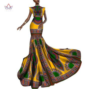 Summer Dress Women Dashiki African Print Clothing Sleeveless Ankara Mermaid Party Long Dress  Plus Size 6XL WY2013