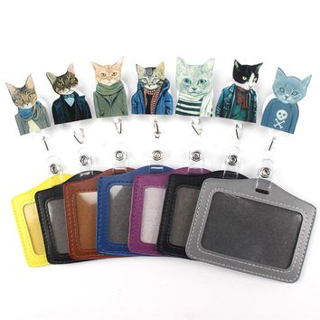1Pcs Cartoon Mr. cat Retractable Badge Reel Student Nurse Exihibiton Horizontal style ID Name Card Badge Holder Office Supplies