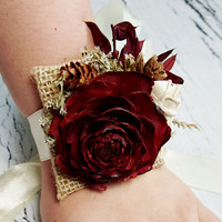 Cedar rose pine cone rustic burgundy gold wedding Rustic WRIST CORSAGE bridesmaids Sola Flower limonium winter fall autumn wedding custom