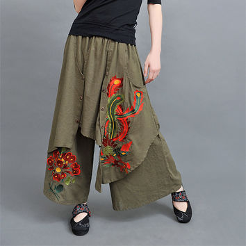 Vintage 70s ethnic wide leg pant 2016 women autumn spring Chinese style green black red trousers free shipping