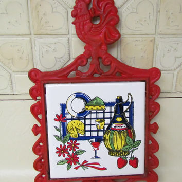 Cast Iron  and Ceramic Red Rooster Trivet