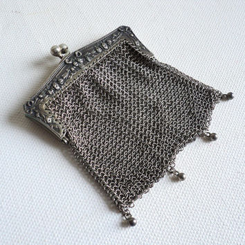 French Silver Mesh Purse, Chatelaine Purse, Vintage French Miniature Chainmail Purse, Victorian Collectible Edwardian Chain Mail Mesh Purse