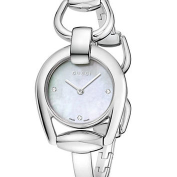 Gucci Ladies Horsebit Silver-Tone Interlocking Bracelet Watch