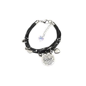 Genuine Leather Bracelet made with Crystals from Swarovski - Sister