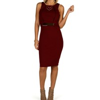 Sale--burgundy Metal Bar Midi Dress