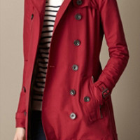 Short Leather Trim Faille Trench Coat