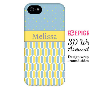 Personalized iPhone 6 case, blue and yellow iPhone 6 plus case, custom iPhone 5C case, iPhone 5s case, iPhone 4s case, galaxy s6 case