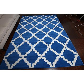 0418 Blue Trellis Area Rugs