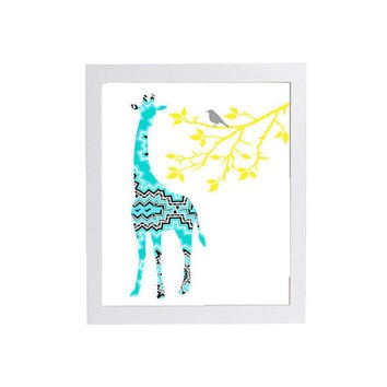 Trendy Modern Nursery Art Giraffe in Turquoise Yellow Quilted Aztec  8 x 10 Unframed