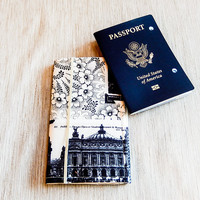 Passport Wallet, Fabric Passport Cover, Paris Fabric Passport Cover, Passport Folder, Travel Gift, Grad Gift, Fabric Passport Wallet