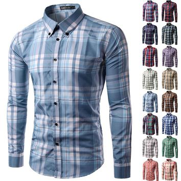 2017 new brand men shirt Long sleeve camisa soical masculina mens plaid dress shirt Casual chemise homme plus size M-3XL